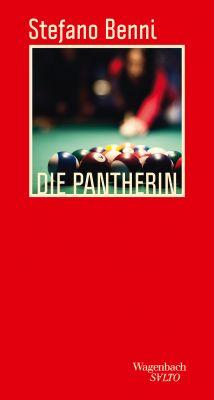 """Cover des roten Leinenbändchens mit Stefano Bennis """"Die Pantherin"""", bebildert mit Billardkugeln auf einem Billardtisch"""